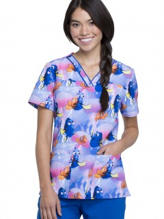 TOP UNIFORME MÉDICO MUJER ESTAMPADO DISNEY TF610 FNJE